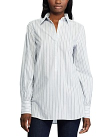 Stripe-Print Bishop-Sleeve Cotton Shirt