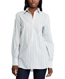 Lauren Ralph Lauren Stripe-Print Bishop-Sleeve Cotton Shirt