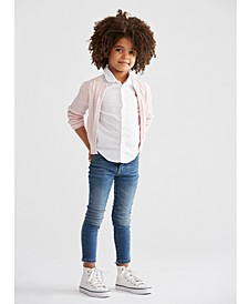 Toddler Girls Cardigan, Oxford Shirt & Denim Leggings