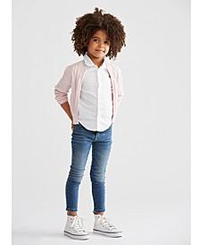 Toddler Girls Cardigan, Oxford Shirt & Denim Leggings
