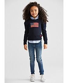 Little Girls Oxford Shirt, Sweater & Jeans