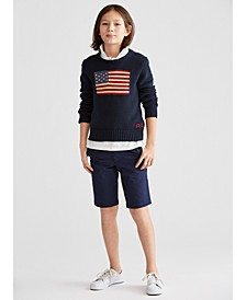 Big Boys Piqué Polo, Flag Intarsia Sweater & Chino Shorts