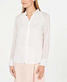 Ruffled-Neck Button-Up Top