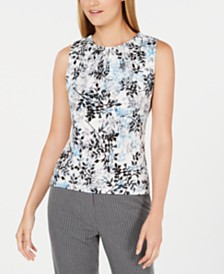 Calvin Klein Sleeveless Floral Pleat-Neck Top