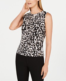 Calvin Klein Animal Print Sleeveless Pleated Top
