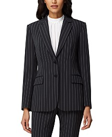 Tahari ASL Chalk-Stripe Two-Button Blazer