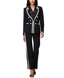 Tahari ASL Contrast-Trim Double-Breasted Blazer