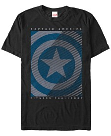 Marvel Men's Comic Collection Captain America Distressed Shield Fitness Challenge Short Sleeve T-Shirt