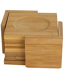 HDS Trading Natural Bamboo Square Coaster with Raised Edge, Set of 6