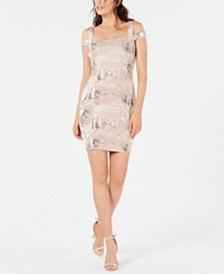 GUESS Snakeskin-Print Fitted Dress
