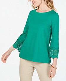 Petite Cotton Lace-Trim Top, Created for Macy's