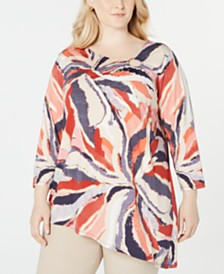 JM Collection Plus Size Printed Asymmetrical-Hem Top, Created for Macy's
