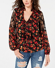 Rose-Print Lace-Inset Peasant Top