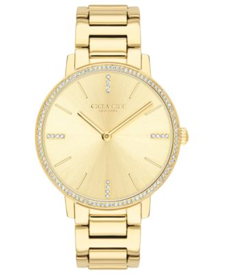 코치 여성 손목 시계 COACH Womens Audrey Gold-Tone Stainless Steel Bracelet Watch 35mm,Silver