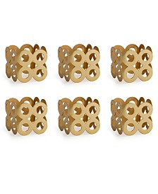 Design Imports Square Die Cut Napkin Ring Set of 6