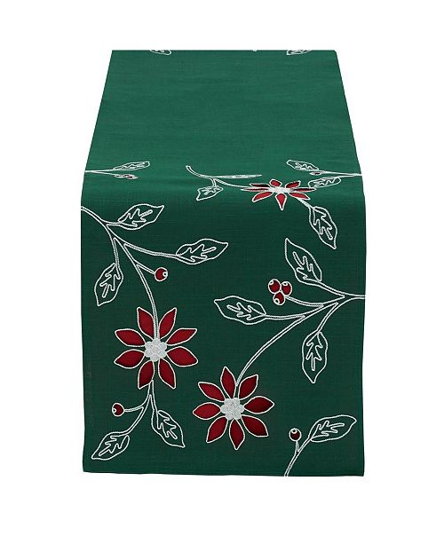 Design Import Table Runner Embroidered Poinsettia