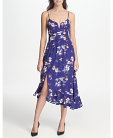 GUESS Floral Printed Knit Midi With Asymmetrical Hem