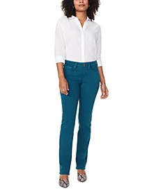 Marilyn Double-Snap Tummy Control Straight-Leg Jeans