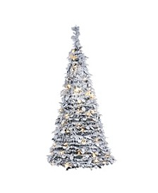 4-Foot High Pop-Up Pre-Lit Flocked Pine Tree with Holy Leaves