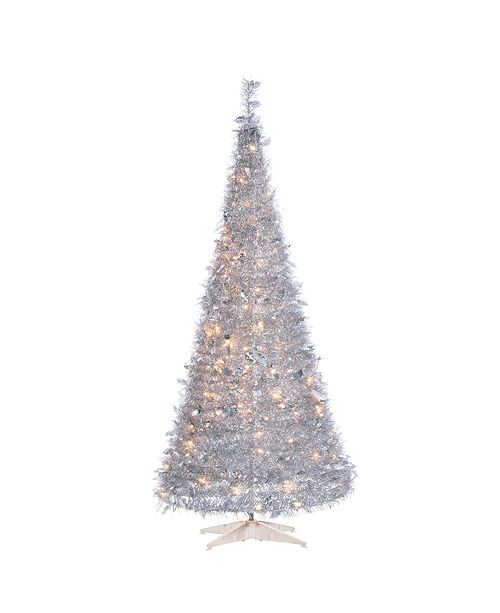 Sterling 6-Foot High Pop Up Pre-Lit Silver Tinsel Tree with Holy Leaves