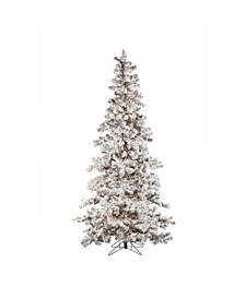 7.5Ft. Heavily Flocked Layered Spruce with 550 clear lights