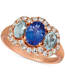 Multi-Gemstone (1-3/4 ct. t.w.) & Nude Diamond (1/2 ct. t.w.) Ring in 14k Rose Gold