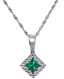 """Emerald (1/4 ct. t.w.) & Diamond (1/4 ct. t.w.) 18"""" Pendant Necklace in 14k White Gold"""