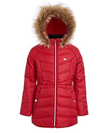 Big Girls Fur-Trim Hooded Chevron Puffer Jacket