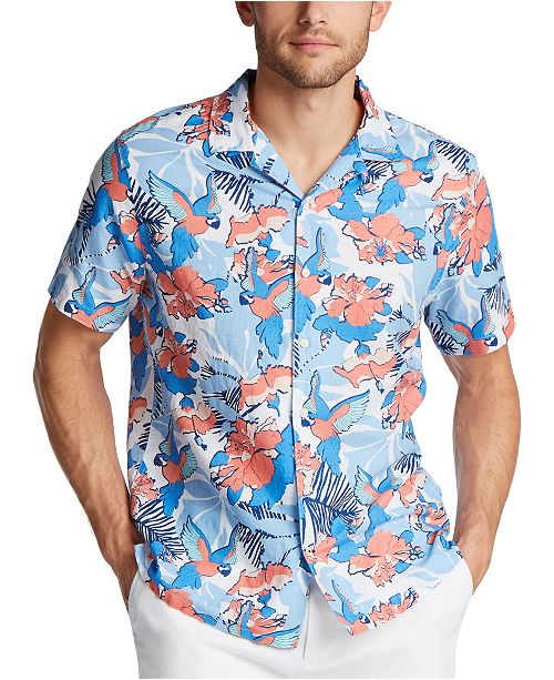 Nautica Men's Blue Sail Classic Fit Island Print Camp Collar Linen Shirt, Created for Macy's