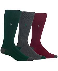Polo Ralph Lauren Men's Socks, Soft Touch Ribbed Heel Toe 3 Pack