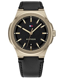 Tommy Hilfiger Men's Black Leather Strap Watch 43mm