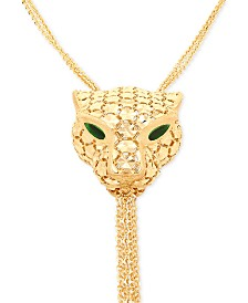 "Effy Oro by EFFY® Panther Head Tassel 20"" Pendant Necklace in 14k Gold"