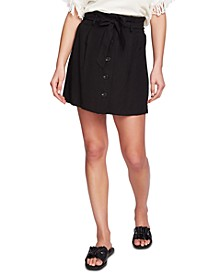Tie-Front Pleated Mini Skirt