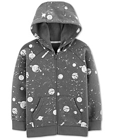 Little & Big Boys Space-Print Zip-Up Fleece Hoodie