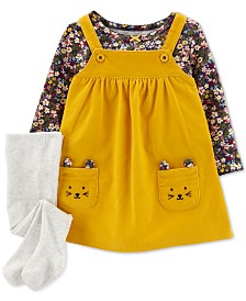 Carter's Baby Girls 3-Pc. Floral-Print T-Shirt, Corduroy Mice Jumper & Footed Tights Set