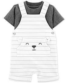 Baby Boys 2-Pc. Cotton T-Shirt & Striped Bear Shortalls Set