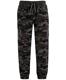 Little Boys Slim Tapered-Fit Stretch Camouflage Twill Moto Joggers