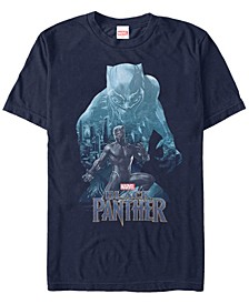 Men's Black Panther Blue Panther Silhouette Pose Short Sleeve T-Shirt