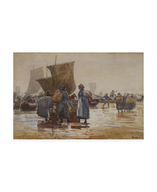 "Trademark Global Winslow Homer Fisherfolk on the Beach at Cullercoats Canvas Art - 15.5"" x 21"""