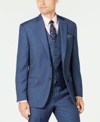 Men's Classic-Fit UltraFlex Stretch Blue Birdseye Suit Separate Jacket