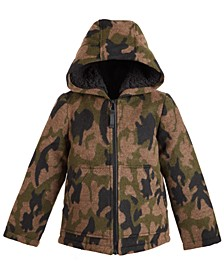 Toddler Boys Hooded Camo-Print Coat