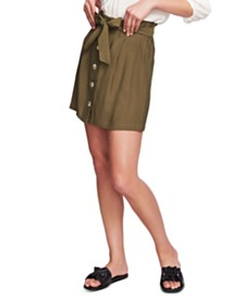 1.STATE Tie-Front Pleated Mini Skirt