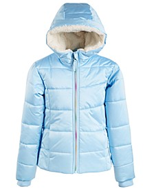 Big Girls Hooded Rainbow-Zip Coat With Faux-Fur Trim