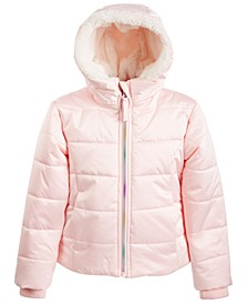 Little Girls Hooded Rainbow-Zip Coat With Faux-Fur Trim