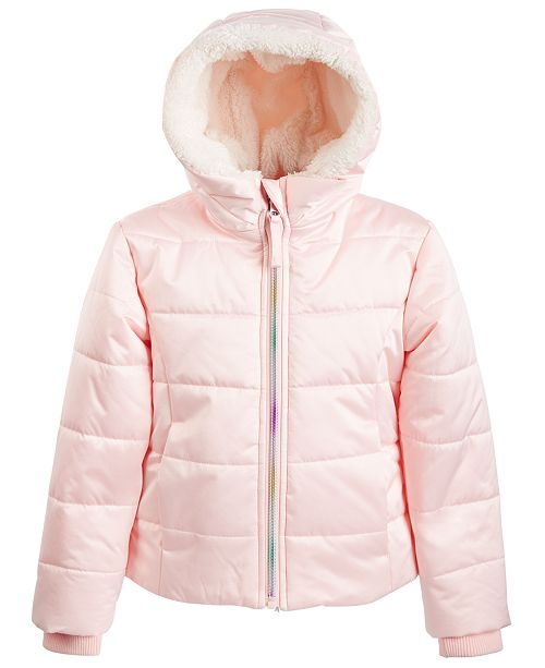 S Rothschild & CO Little Girls Hooded Rainbow-Zip Coat With Faux-Fur Trim