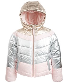Big Girls Hooded Tri-Color Colorblocked Jacket