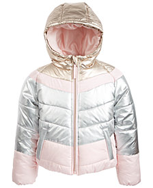 S Rothschild & CO Little Girls Hooded Colorblocked Puffer Jacket