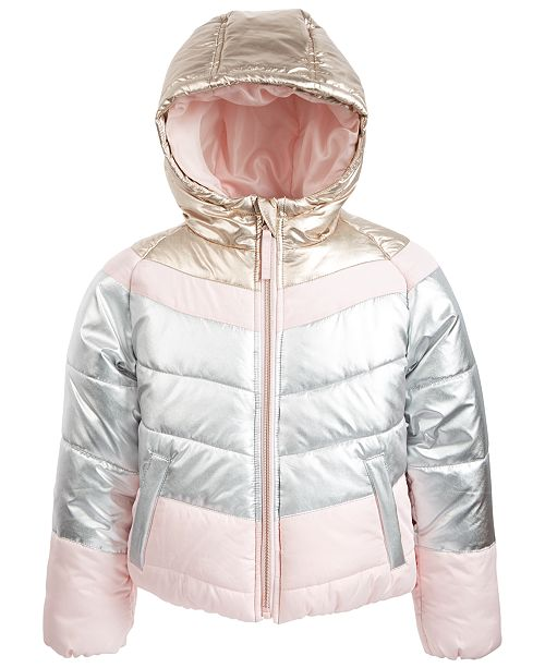 S Rothschild & CO Toddler Girls Hooded Colorblocked Puffer Jacket