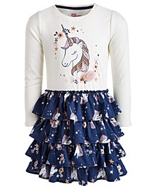 Little Girls Unicorn-Print Ruffle Dress, Created for Macy's