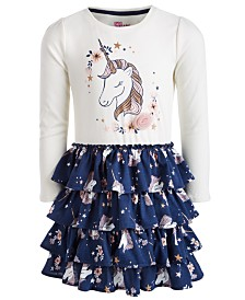Epic Threads Little Girls Unicorn-Print Ruffle Dress, Created for Macy's